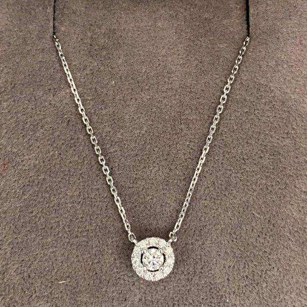 0.18 Carat Diamond Halo Pendant & Chain
