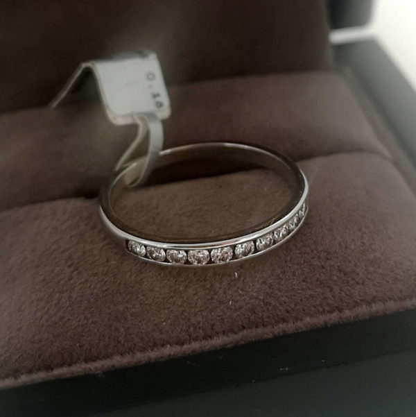 0.18 Carat Half Channel Set Diamond Ring