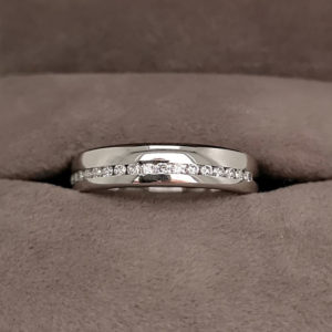 0.25 Carat Half Offset Channel Set Diamond Wedding Ring
