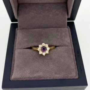 0.62 Carat Ruby & Diamond Cluster Ring