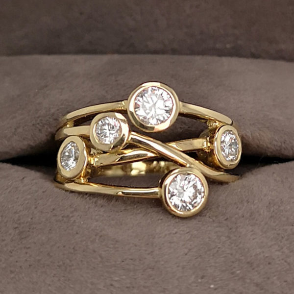 0.84 Carat Diamond Moonshine Ring in Yellow Gold