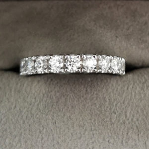 0.89 Carat Flat Claw Set Diamond Eternity Ring in Platinum