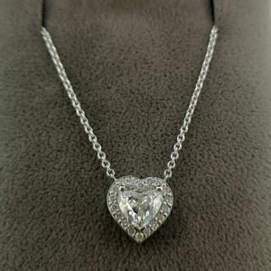 1.13 Carat Heart Shaped Diamond Pendant with Halo & Chain