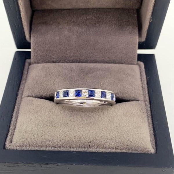 1.14 Carat Blue Sapphire & Diamond Channel Set Eternity Ring