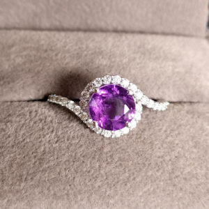 1.47 Carat Amethyst & Diamond Ring in White Gold