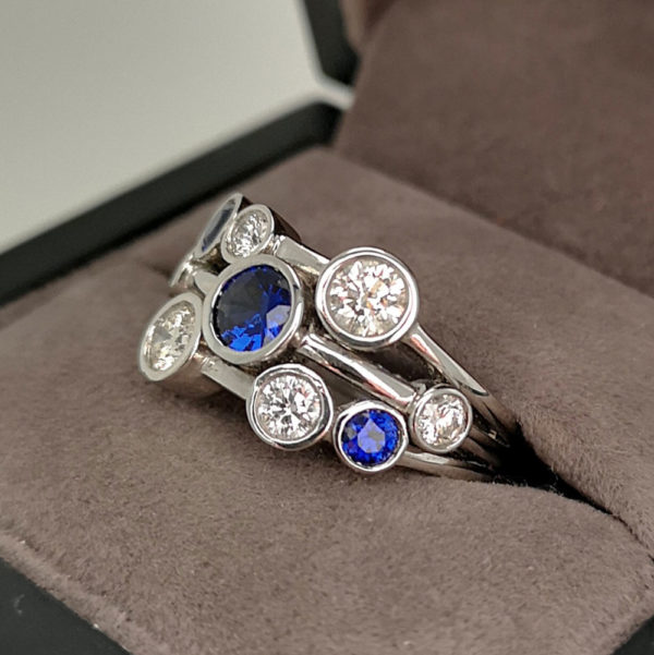 1.65 Carat Diamond & Sapphire Moonshine Ring in Platinum