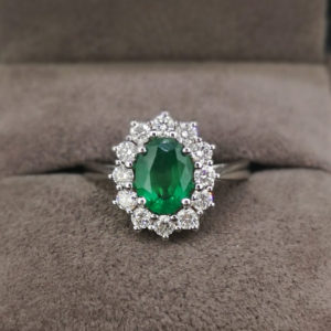 1.73 Carat Green Emerald & Diamond Ring