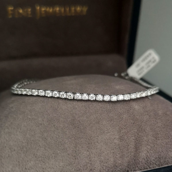 2.40 Carat Diamond Line White Gold Bracelet