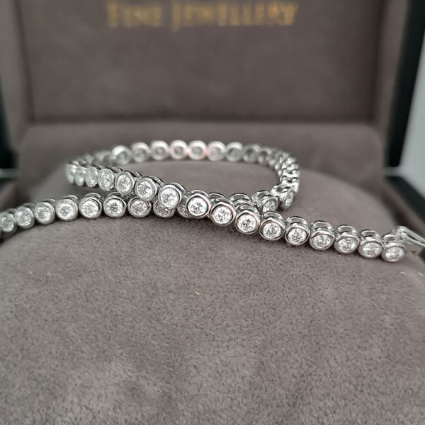 2.54 Carat Diamond Rub-Over Line White Gold Bracelet