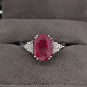 3.35 Carat Oval Shaped Ruby & Diamond Dress Ring