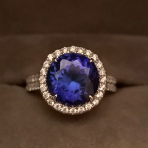 5.76 Carat Tanzanite & Diamond Ring in White Gold