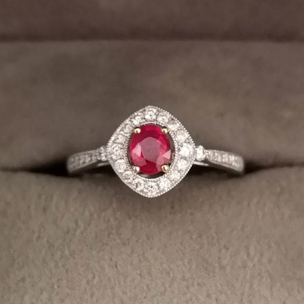 Art Deco Style Oval Shaped Ruby & Diamond Dress Ring