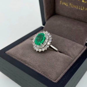 Double Halo Diamond & Green Emerald Ring