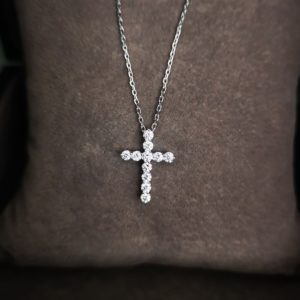 0.40 Carat Diamond Cross Pendant and Chain