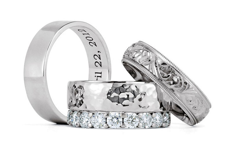 Wedding bands at Lanes Fine Jewellery in Leicester, England